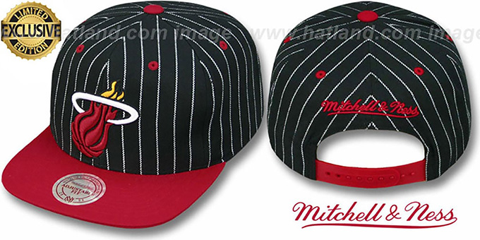 Heat 'PINSTRIPE 2T TEAM-BASIC SNAPBACK' Black-Red Adjustable Hat by Mitchell & Ness : pictured without stickers that these products are shipped with
