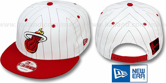 Heat 'PINSTRIPE BITD SNAPBACK' White-Red Hat by New Era : pictured without stickers that these products are shipped with