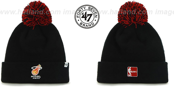 Heat 'POMPOM CUFF' Black Knit Beanie Hat by Twins 47 Brand : pictured without stickers that these products are shipped with