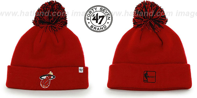 Heat 'POMPOM CUFF' Red Knit Beanie Hat by Twins 47 Brand : pictured without stickers that these products are shipped with