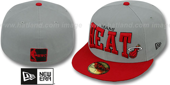Heat 'PRO-ARCH' Grey-Red Fitted Hat by New Era : pictured without stickers that these products are shipped with