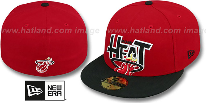 Heat 'PROFILIN' Red-Black Fitted Hat by New Era : pictured without stickers that these products are shipped with