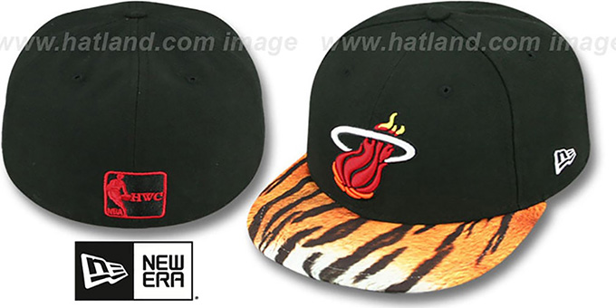 Heat 'REAL TIGER VIZA-PRINT' Black Fitted Hat by New Era : pictured without stickers that these products are shipped with
