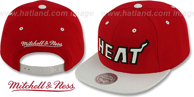 Heat 'RED-ALERT SNAPBACK' Red-White Hat by Mitchell & Ness : pictured without stickers that these products are shipped with