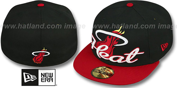 Heat 'SCRIPT-PUNCH' Black-Red Fitted Hat by New Era : pictured without stickers that these products are shipped with