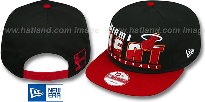 Heat 'SLICE-N-DICE SNAPBACK' Black-Red Hat by New Era : pictured without stickers that these products are shipped with