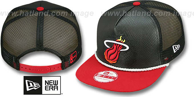 Heat 'SNAKE A-FRAME SNAPBACK' Black-Red Hat by New Era : pictured without stickers that these products are shipped with