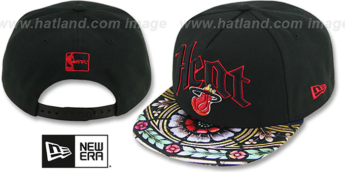 Heat 'STAIN GLASS SNAPBACK' Black Hat by New Era : pictured without stickers that these products are shipped with