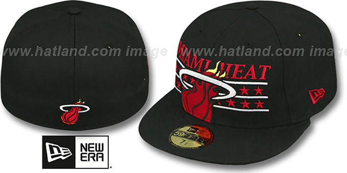 Heat 'STAR STUDDED' Black Fitted Hat by New Era : pictured without stickers that these products are shipped with