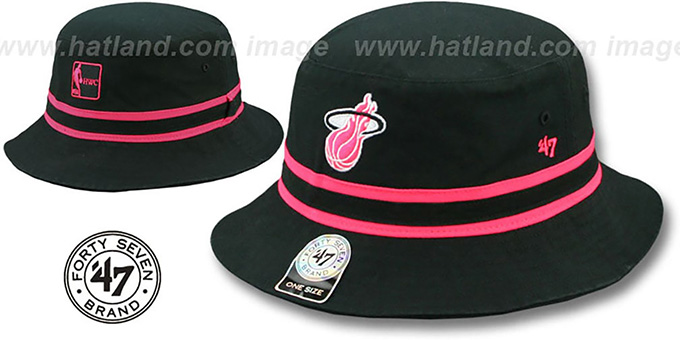 Heat 'STRIPED BUCKET' Black Hat by Twins 47 Brand : pictured without stickers that these products are shipped with