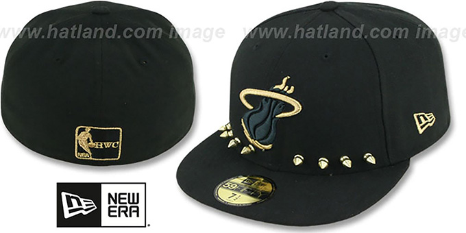 Heat 'STUD-POP' Black Fitted Hat by New Era : pictured without stickers that these products are shipped with