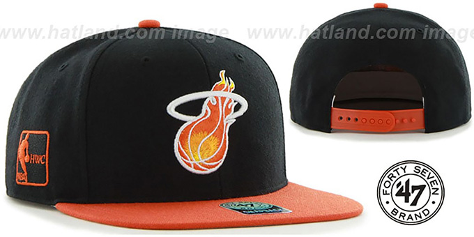Heat 'SURE-SHOT SNAPBACK' Black-Orange Hat by Twins 47 Brand : pictured without stickers that these products are shipped with
