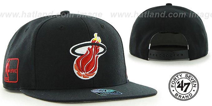 Heat 'SURE-SHOT SNAPBACK' Black Hat by Twins 47 Brand : pictured without stickers that these products are shipped with