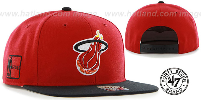Heat 'SURE-SHOT SNAPBACK' Red-Black Hat by Twins 47 Brand : pictured without stickers that these products are shipped with