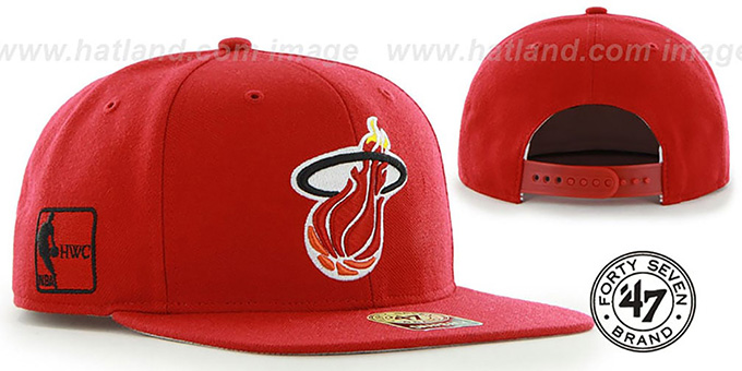 Heat 'SURE-SHOT SNAPBACK' Red Hat by Twins 47 Brand : pictured without stickers that these products are shipped with