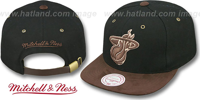Heat 'TC-BROWN SUEDE STRAPBACK' Hat Mitchell & Ness : pictured without stickers that these products are shipped with