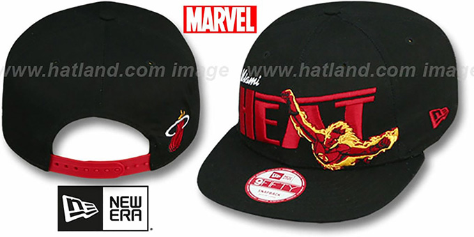 Heat 'TEAM-HERO SNAPBACK' Black Hat by New Era : pictured without stickers that these products are shipped with