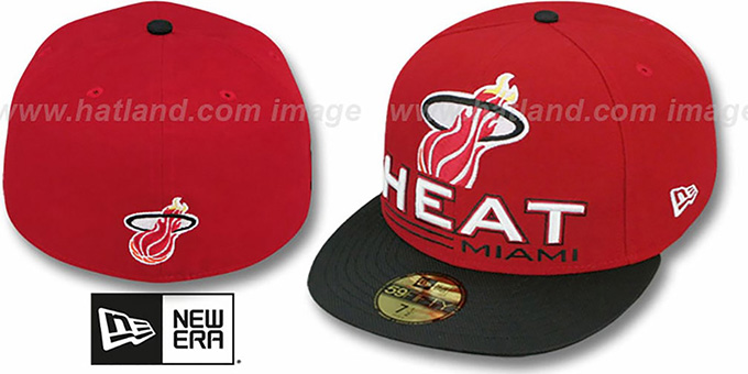 Heat 'TECH MARK' Red-Black Fitted Hat by New Era : pictured without stickers that these products are shipped with