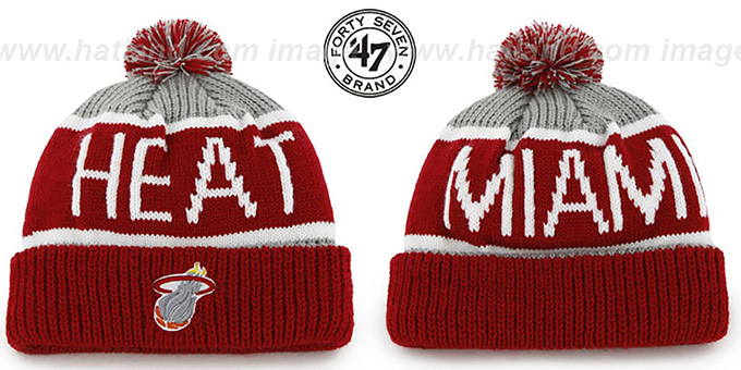 Heat 'THE-CALGARY' Red-Grey Knit Beanie Hat by Twins 47 Brand : pictured without stickers that these products are shipped with