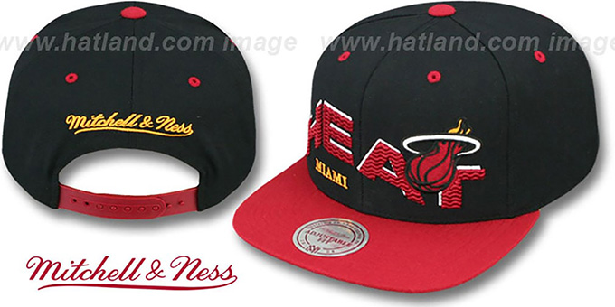 Heat 'THE-WAVE SNAPBACK' Black-Red Hat by Mitchell and Ness : pictured without stickers that these products are shipped with