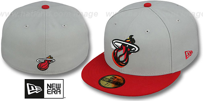 Heat 'TRACE-POP' Grey-Red Fitted Hat by New Era : pictured without stickers that these products are shipped with