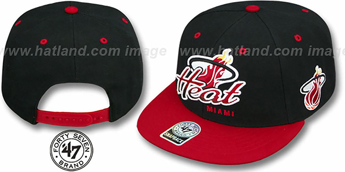 Heat 'TRICKY LOU SNAPBACK' Black-Red Hat by Twins 47 Brand : pictured without stickers that these products are shipped with
