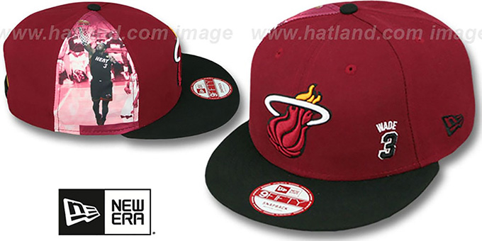 Heat WADE 'PLAYER-TWIST SNAPBACK' Maroon-Black Hat by New Era : pictured without stickers that these products are shipped with
