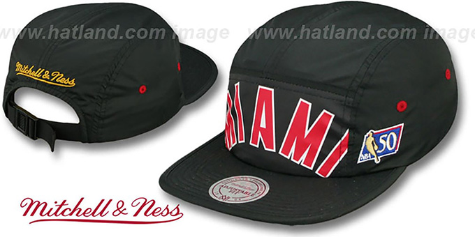 Heat 'WORDMARK STRAPBACK' Black Hat by Mitchell & Ness : pictured without stickers that these products are shipped with