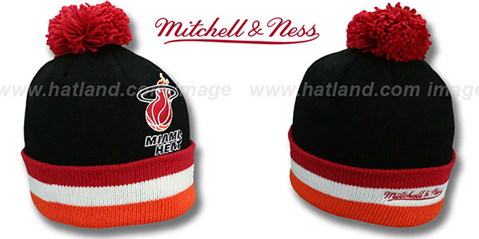 Heat 'XL-LOGO BEANIE' Black by Mitchell and Ness : pictured without stickers that these products are shipped with
