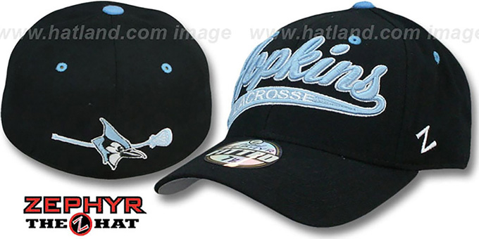 Hopkins 'SWOOP LACROSSE' Black Fitted Hat by Zephyr : pictured without stickers that these products are shipped with