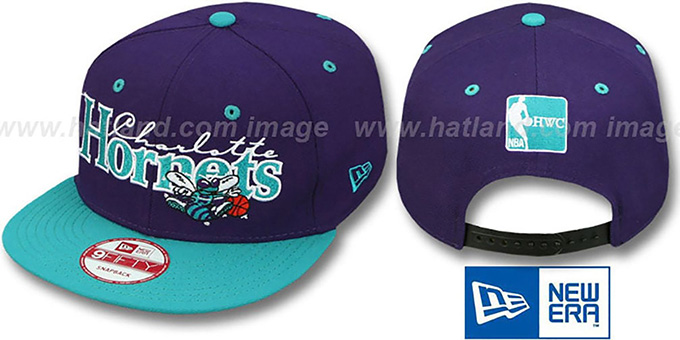 Hornets '2T CLASSIC-TAG HWCB SNAPBACK' Purple-Teal Adjustable Hat by New Era : pictured without stickers that these products are shipped with