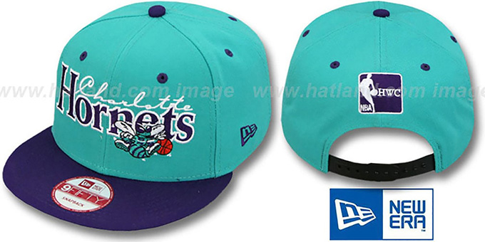 Hornets '2T CLASSIC-TAG SNAPBACK' Teal-Purple Adjustable Hat by New Era : pictured without stickers that these products are shipped with