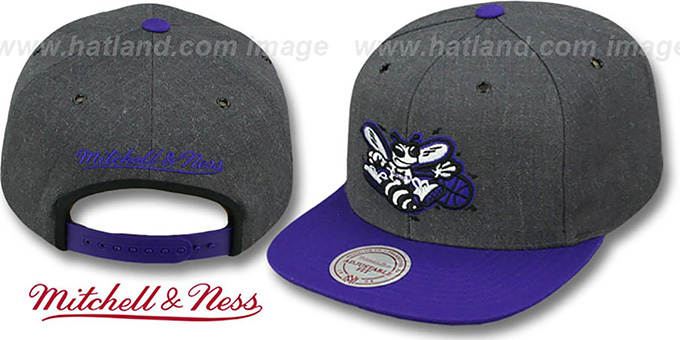 Hornets '2T-HEATHER SNAPBACK' Grey-Purple Hat by Mitchell & Ness : pictured without stickers that these products are shipped with