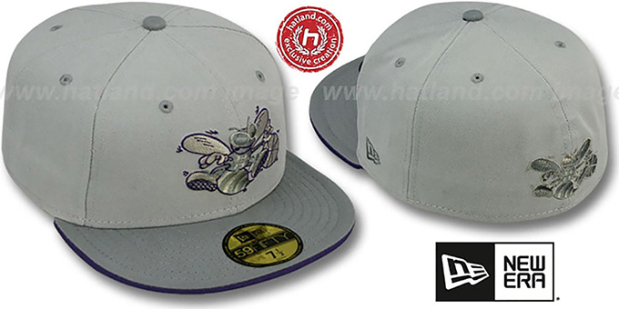 Hornets '2T HWC GREY-POP' Fitted Hat by New Era : pictured without stickers that these products are shipped with