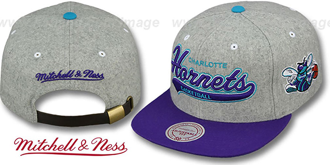 Hornets '2T TAILSWEEPER STRAPBACK' Grey-Purple Hat by Mitchell & Ness : pictured without stickers that these products are shipped with