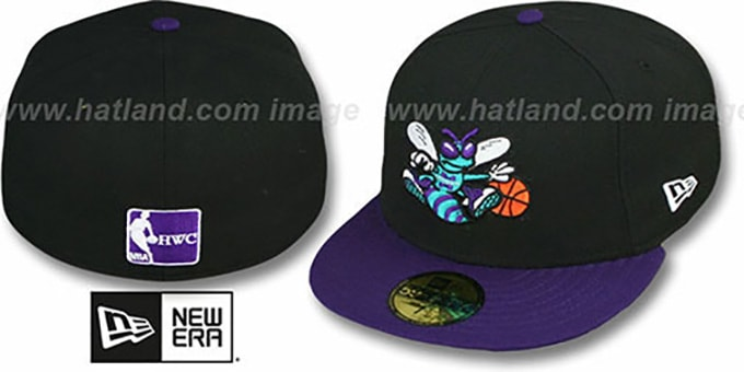 Hornets '2T TEAM-BASIC' Black-Purple Fitted Hat by New Era : pictured without stickers that these products are shipped with