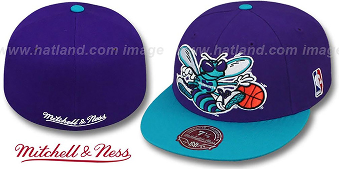 Hornets '2T XL-LOGO' Purple-Teal Fitted Hat by Mitchell & Ness : pictured without stickers that these products are shipped with
