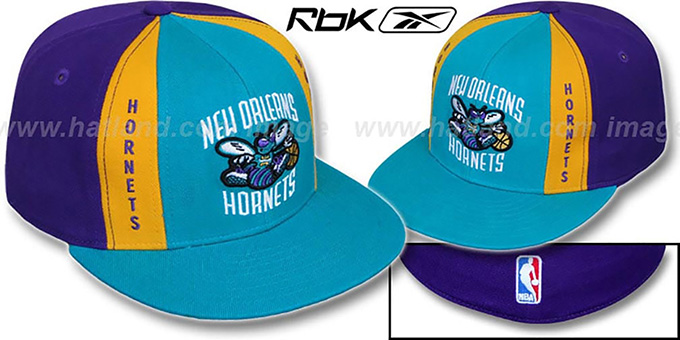 Hornets 'AJD PINWHEEL' Teal-Purple Fitted Hat by Reebok : pictured without stickers that these products are shipped with