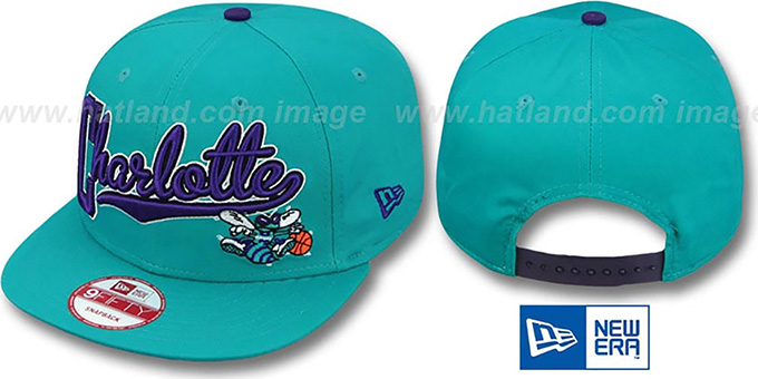 Hornets 'BLOCK-SCRIPT SNAPBACK' Teal Hat by New Era : pictured without stickers that these products are shipped with