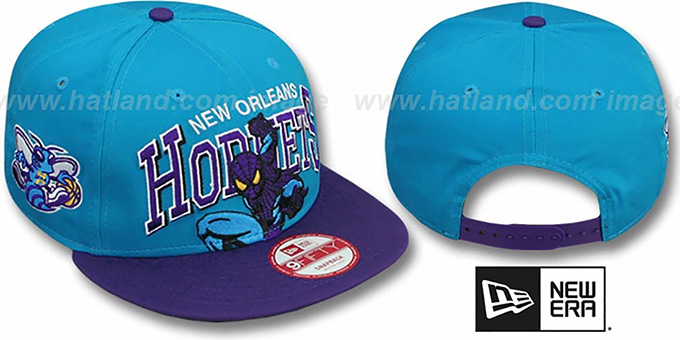 Hornets 'CHALK-UP HERO SNAPBACK' Teal-Purple Hat by New Era : pictured without stickers that these products are shipped with