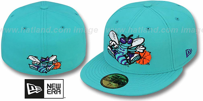 Hornets 'CHENILLE APPLIQUE' Teal Fitted Hat by New Era : pictured without stickers that these products are shipped with