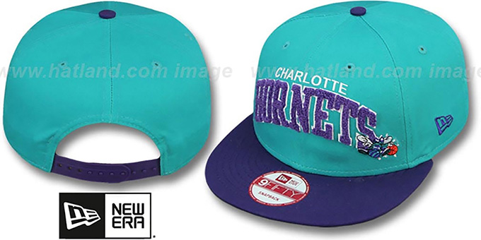 Hornets 'CHENILLE-ARCH SNAPBACK' Teal-Purple Hat by New Era : pictured without stickers that these products are shipped with