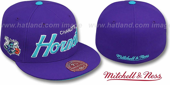 Hornets 'CLASSIC-SCRIPT' Purple Fitted Hat by Mitchell & Ness : pictured without stickers that these products are shipped with