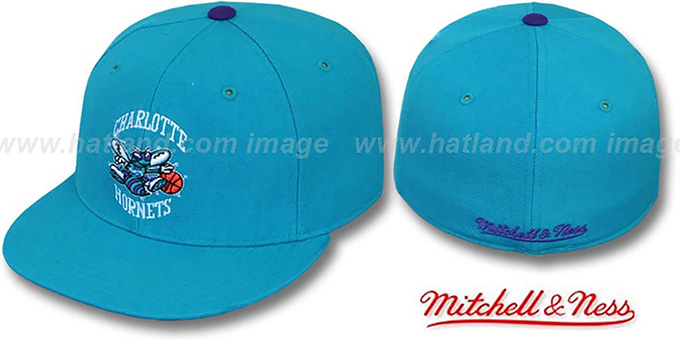 Hornets 'CLASSIC THROWBACK' Teal Fitted Hat by Mitchell & Ness : pictured without stickers that these products are shipped with