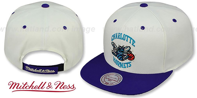 Hornets 'CREAMTOP STRAPBACK' Hat by Mitchell & Ness : pictured without stickers that these products are shipped with