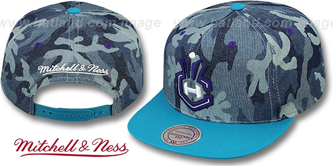 Hornets 'DENIM-CAMO SNAPBACK' Blue Hat by Mitchell and Ness : pictured without stickers that these products are shipped with