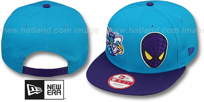 Hornets 'DOUBLE-WHAM SPIDERMAN SNAPBACK' Hat by New Era : pictured without stickers that these products are shipped with
