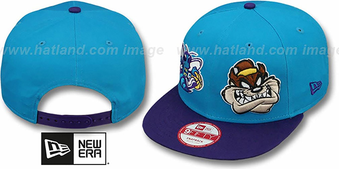 Hornets 'DOUBLE-WHAM TAZ SNAPBACK' Hat by New Era : pictured without stickers that these products are shipped with