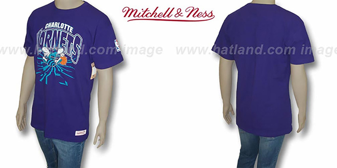 Hornets 'EARTHQUAKE' Purple T-Shirt by Mitchell & Ness : pictured without stickers that these products are shipped with