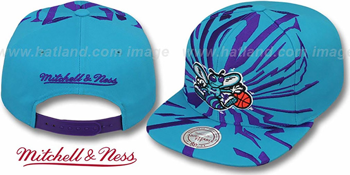 Hornets 'EARTHQUAKE SNAPBACK' Teal Hat by Mitchell & Ness : pictured without stickers that these products are shipped with